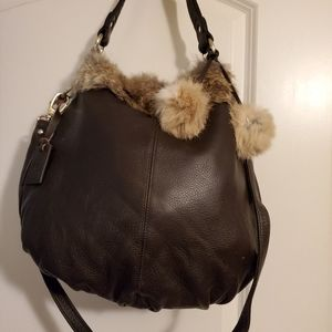 Faux Fur and Leather Handbag
